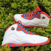 Nike Air Jordan 10 Retro White Crimson Chicago Flag City Pack  Basketball Sneaker  AJ10 310805-114