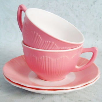 Pink MacBeth Evans Bordette Tea Cups and Saucers - Vintage Pair of Pink Glass Cups and Saucers - Vintage Macbeth Evans Teacups