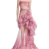 Marchesa Strapless Ombre Tulle Peplum Gown