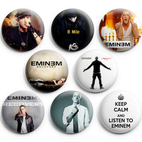 Eminem Pinback Buttons Pins Badges 1.25 inch 8Pcs New