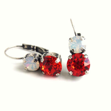 Swarovski crystal 2-stone earrings in white opal and hyacinth, made with CRYSTALLIZED™ - Swarovski Elements, siggy bling, Sabika inspired
