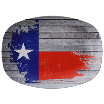 Painted Texas Flag on Wood Printed on ThermoSaf Serving Plate