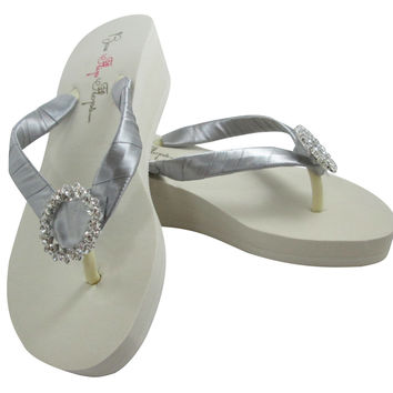 Bridesmaid / Bride Flip Flops : White or Ivory & Gray Wedge Flip Flops with Regal Circle Bling
