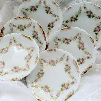 Set of 6 - Antique Theodore Haviland Limoges France Butter Pats/Cottage Style