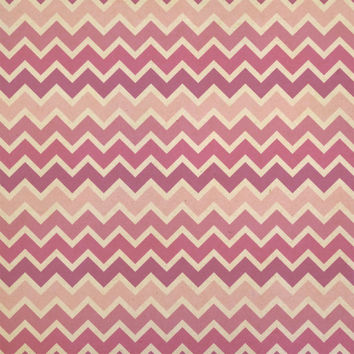Pink Ombre Chevrons Kraft Gift Wrapping Paper