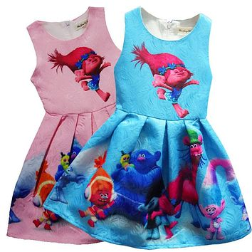 2017 Baby girl dress trolls dress kids clothes Unicorn dress baby girls children clothes cotton H622