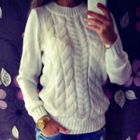 White Women Long Sleeve Loose Sweater Knitted Coat Jacket Outwear Casual