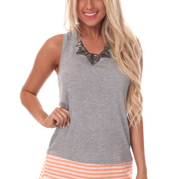 Grey Stripe Contrast Top