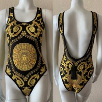 Versace New fashion more print vest one piece bikini swimsuit Blac