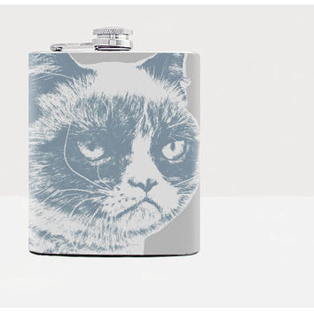 Grumpy cat hip flask-Gift for him-Gifts for him-Hip flask-Unique gift for men-Hip flasks-21st birthday gift-Whiskey-Alcohol-Gray-Funny