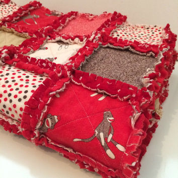 Sock Monkey Baby Quilt - Rag Quilt - Red Minky Fabric - Baby Girl - Baby Boy Quilt