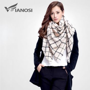 [VIANOSI] Brand Women Winter Plaid Square Knitted Scarf Female Warm Shawls Cotton Scarves VS005