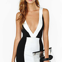 Black And White V-Neck Bodycon Dress
