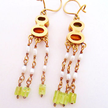 Vintage 14K Gold & 925 Sterling Peridot Citrine Gemstones Fresh Water Pearls Earrings Bridal Wedding Dangles Art Deco Runway Statement