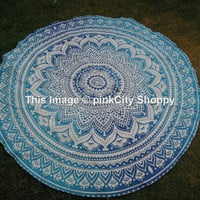Hippy Hippie Mandala Round Roundie Beach Throw Boho Gypsy Cotton Tablecloth Beach Towel , Round Yoga Mat , Wall Hanging Ombre Mandala round
