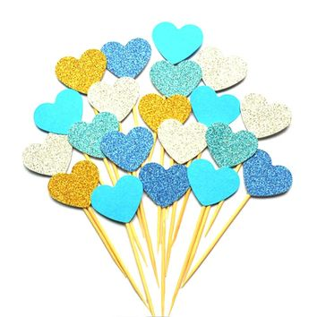 New 10pcs Colored Bling Heart Shape Insert Cards With Toothpick Cake Decorations For Wedding Birthday Party Cute Lovely Gifts