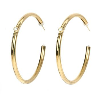 L George Designs | Crystal Gold Hoop Earrings