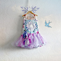 Purple Fairy Dress 2T Toddler Clothing Girl Tutu Floral Print Blue Lace Summer Sundress Flower Girl Party Dress Eco Friendly Clothes 'KYLIE'