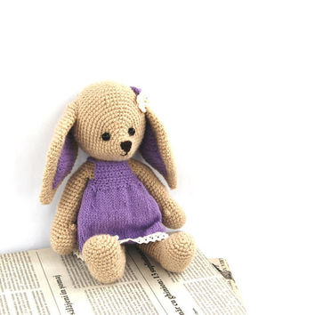 lavender bunny, purple cute bunny, stuffed beige rabbit with elegant lavender dress, girl bunny, amigurumi bunny