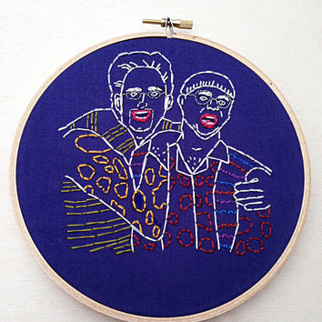 Tim and Eric/Jan Wayne Skylar/Hand Embroidery Hoop Art/Television Personality/Hoop Home Decor/Funny Decor/Hand Embroidery/Adult Swim