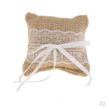 Set of 2pcs Retro Wedding Bridal Party Jute Burlap Ring Pillows Rustic Ring Bearer Cushion with Bow Lace Trims