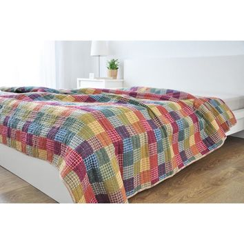 CHAUSUB 100% Cotton Quilt Rural Style Washed Cotton Quilts Summer Quilted Bedspread Bed Cover Sheets Bedding Sofa Throw Blanket