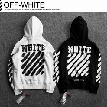 Off White Printing Paint Arrow Hooded Sweater M--XXL