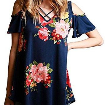 Women Casual Floral Print Cold Shoulder Short Sleeve Lace Up V Neck T Shirt Tops