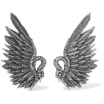 Lanvin - Antiqued silver-tone crystal clip earrings