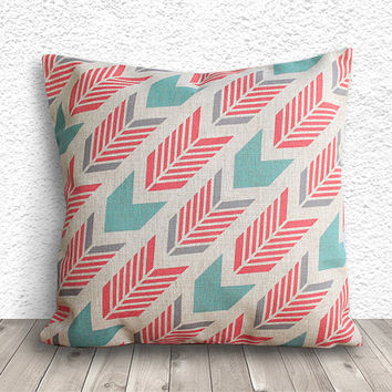 Geometric Pillow Cover, Pillow Cover, Fuschia Pillow Cover, Linen Pillow Cover, 18x18 - Printed Geometric - 028