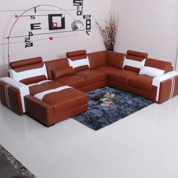 Optimus Cool Leather Sectional by Scene Furniture - Opulentitems.com