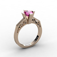 Modern Classic 14K Rose Gold 1.0 Carat Pink Sapphire Bridal Solitaire Wedding Ring Engagement Ring R1024-14KRGPS