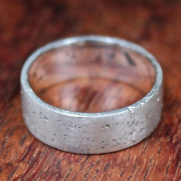 Flat Band, Rustic Wedding Band, Textured Band, Sterling Silver Ring, Organic Band, Men's Wedding Ring, Matt Finish.