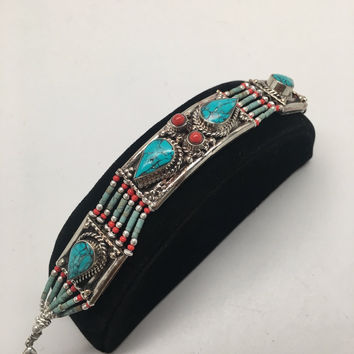 Vintage Nepalese Red Coral & Green turquoise Inlay Statement Bib Bracelet, NPB49