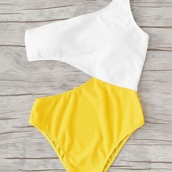Two Tone Cut Out One Piece Swimsuit