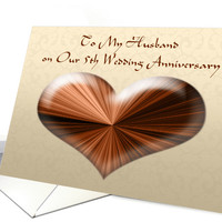 To Husband on Our 5th Wedding Anniversary, Greeting Card (889234)