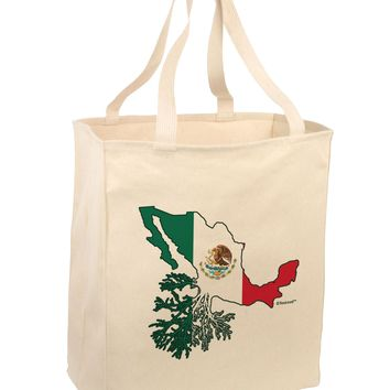 Mexican Roots - Mexico Outline Mexican Flag Large Grocery Tote Bag by TooLoud