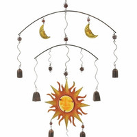 Benzara Uniquely Styled Metal Glass Wind Chime