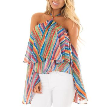 Loose Off The Shoulder Chiffon Rainbow Printed Stripe Cami Top