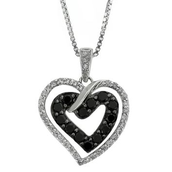 1/2 cttw Blue and White Diamond Heart 925 Sterling Silver Pendant