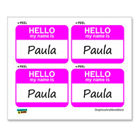Paula Hello My Name Is - Sheet of 4 Stickers