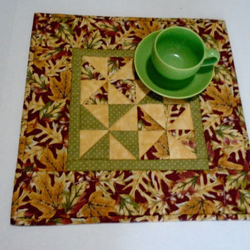 Fall Autumn Quilted Table Topper, Quilted Table Runner Fall Leaves, Thanksgiving Table Quilt, Pinwheels and Polka Dots