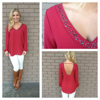 Burgundy Studded Scoop Back Long Sleeve Blouse