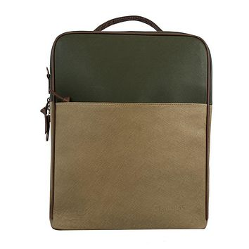 Augusta Leather Backpack Tan and Olive Green