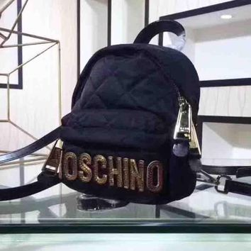 Moschino New fashion sequin letter rhombus backpack bag Black
