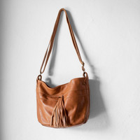 Bucket Bag in Caramel / Leather Bucket Bag / Leather Bag / Fringe Bag / Bucket Bag / Messenger Bag / Leather Tote / Brown Leather Bag
