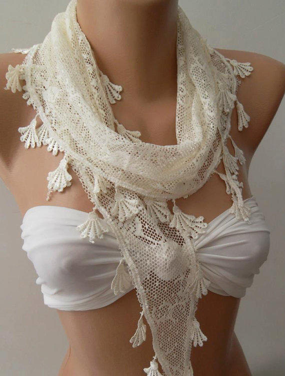Creamy  White  - Scarf with Lacy Edge--