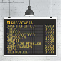Airport Departures Board Print, Various sizes, Personalized Travel Art Print