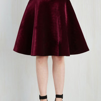 90s Mid-length Full Viva La Velvet Skirt in Merlot