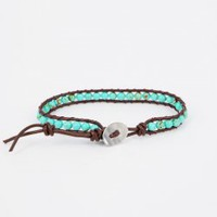 Green Turquoise Round Beads Single Wrap Bracelet : OrHere